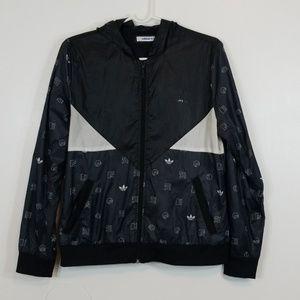 Adidas Zip Up Black/White Hooded Wind Breaker